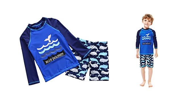 7e5b974384 Delight Boys' 2-Piece Swimsuit Trunk and Rashguard with Blue Dolphin  Pattern Navy 3