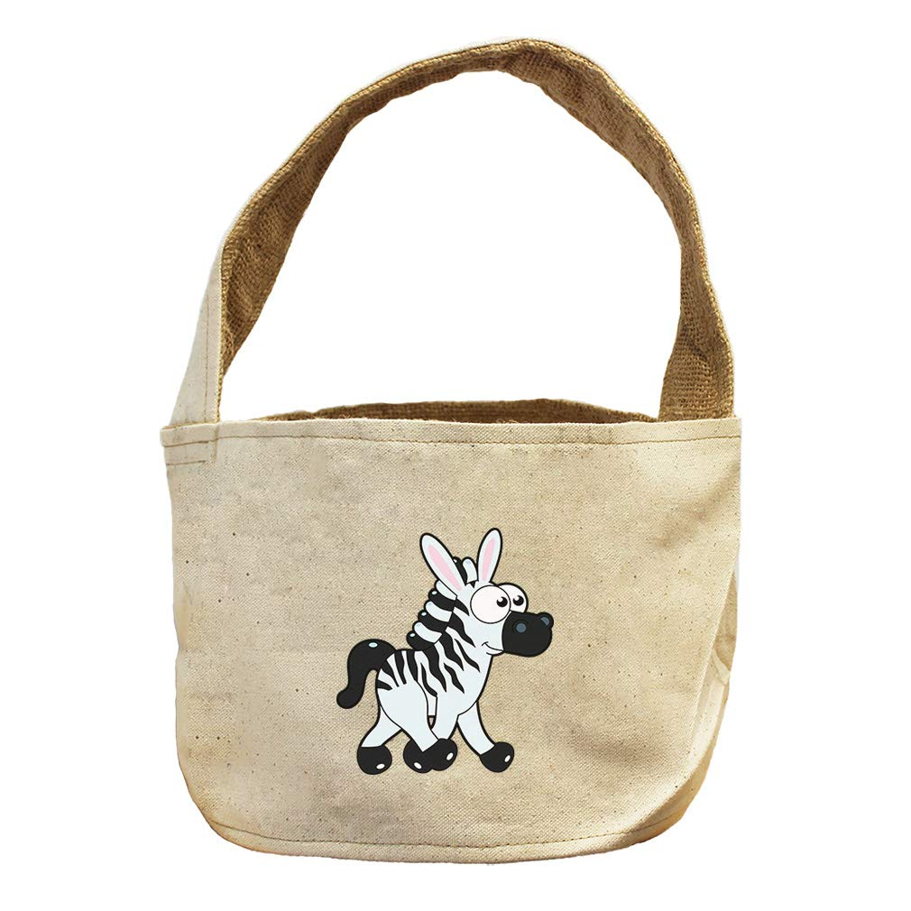 Style in Print Zebra Walking Right Animals Canvas and Burlap Storage Basket