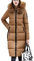 Yayu Womens Winter Warm Faux Fur Hoodie Long Puffer Down Quilted Jacket Coat