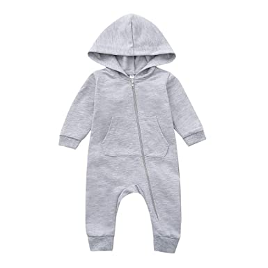 cc3f8f558 H.eternal One Piece Baby Romper Soft Footless Sleep and Play Hooded ...
