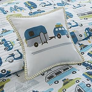 Ink+Ivy Kids Road Trip Twin Bedding Sets Boys Quilt Set - White Blue, Car – 3 Piece Kids Quilt For Boys – 100% Cotton Quilt Sets Coverlet