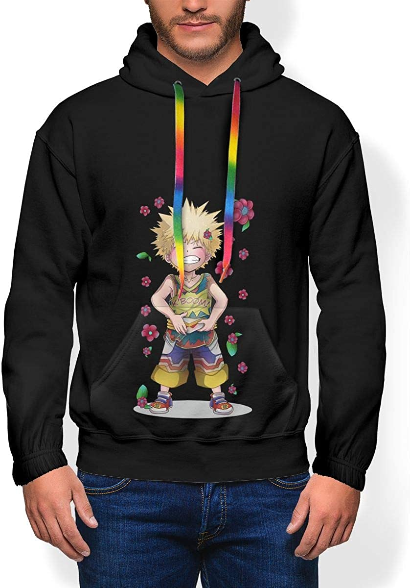 My Hero Academia Kacchan Mens Winter Jacket Clothes Plus Velvet Long Sleeve Hooded Sweat Shirt Pullover