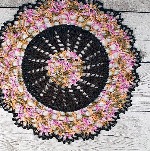 Doily Light Peach (Crocheted Dark Brown Pink Peach Light Brown Variegated Doily Table Topper -)