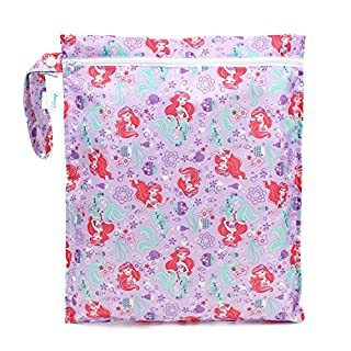 Bumkins Disney Ariel Waterproof Wet Bag, Washable, Reusable for Travel, Beach, Pool, Stroller, Diapers, Dirty Gym Clothes, Wet Swimsuits, Toiletries, Electronics, Toys, 12x14