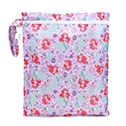 Bumkins Reusable Waterproof Wet Bag with Zipper, Disney, Princess Ariel