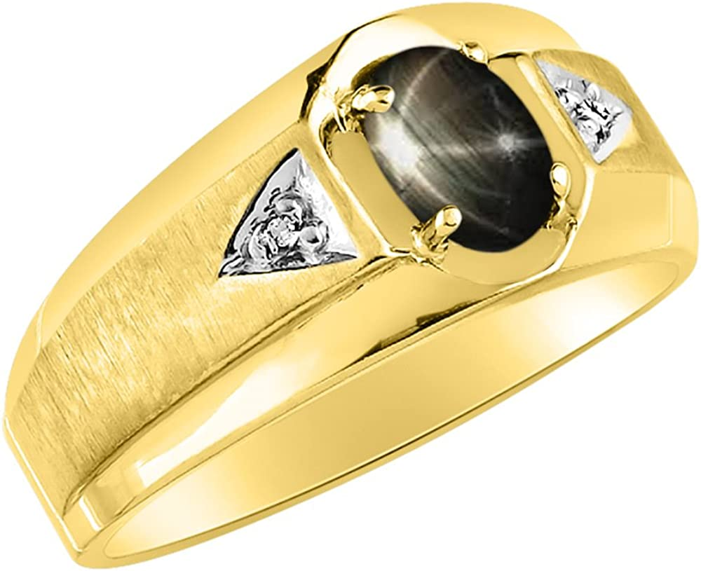 Black Star Sapphire /& Diamond Ring Sterling Silver or Yellow Gold Plated Silver Band