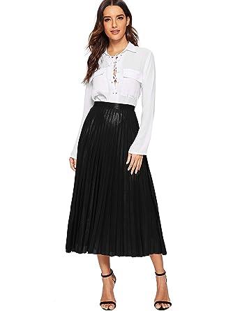 2fe2db9a0c Romwe Women's Metallic Shiny Shimmer Accordion Pleated Long Maxi Skirt  Black S