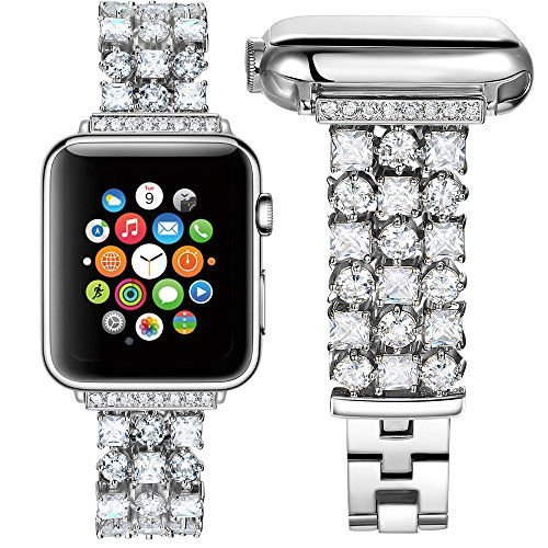 HandyGear Band Compatible Apple Watch, Handmade Classy Bling Crystal Rhinestone Diamonds Bracelet Strap Replacement Bands iWatch Series 1 Series 2 Series 3 Series 4 (42mm/44mm BD Silver)