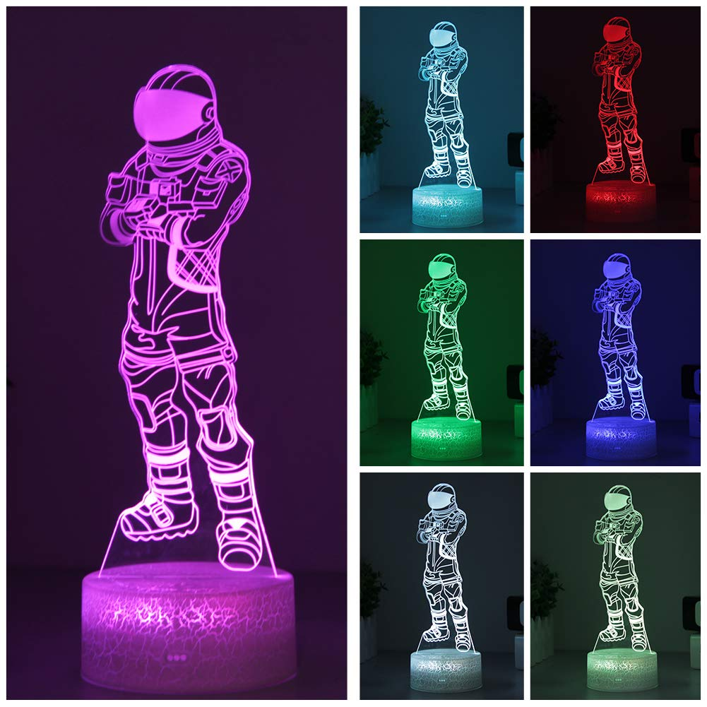 Dark Voyager Night Light Fortnit Game 3D Visual Lamp Arylic Crystal RGB Changeable LED Mood Lamp for Birthday Holiday Gift (Dark Voyager Crackle Base)