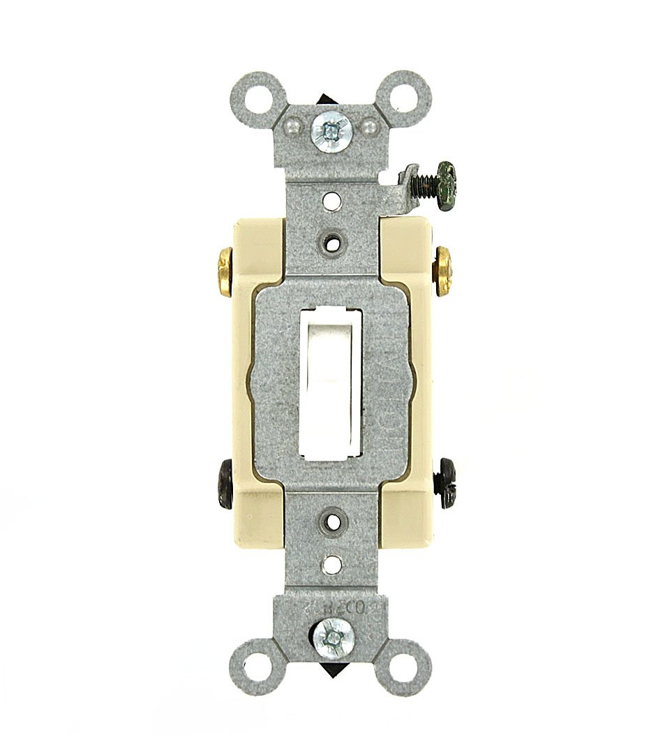 Leviton 54524-2W 20 Amp, 120/277 Volt, Toggle Framed 4-Way AC Quiet Switch, Commercial Grade, Grounding, White