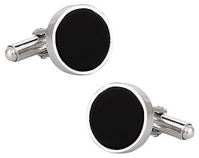 Plata Y Onyx Gemelos Plata Ley y Onyx Cufflinks