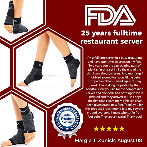 3e4ccac664 Rikedom Sports (1 Pair Best Plantar Fasciitis Foot Sleeves Graduated  Compression Heel Arch Ankle Sleeves