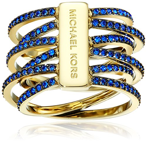 Michael Kors Blue Pave Crossover Gold-Tone Ring, Size 8 ()