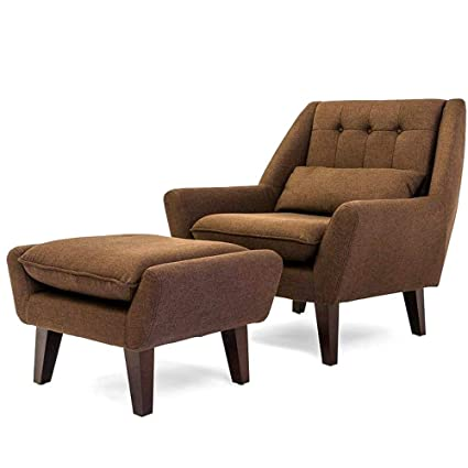 Mid Century Modern Lounge Chair With Ottoman Tufted Traditional Hardwood  Frame Button Tufting Modern Contemporary Lounging