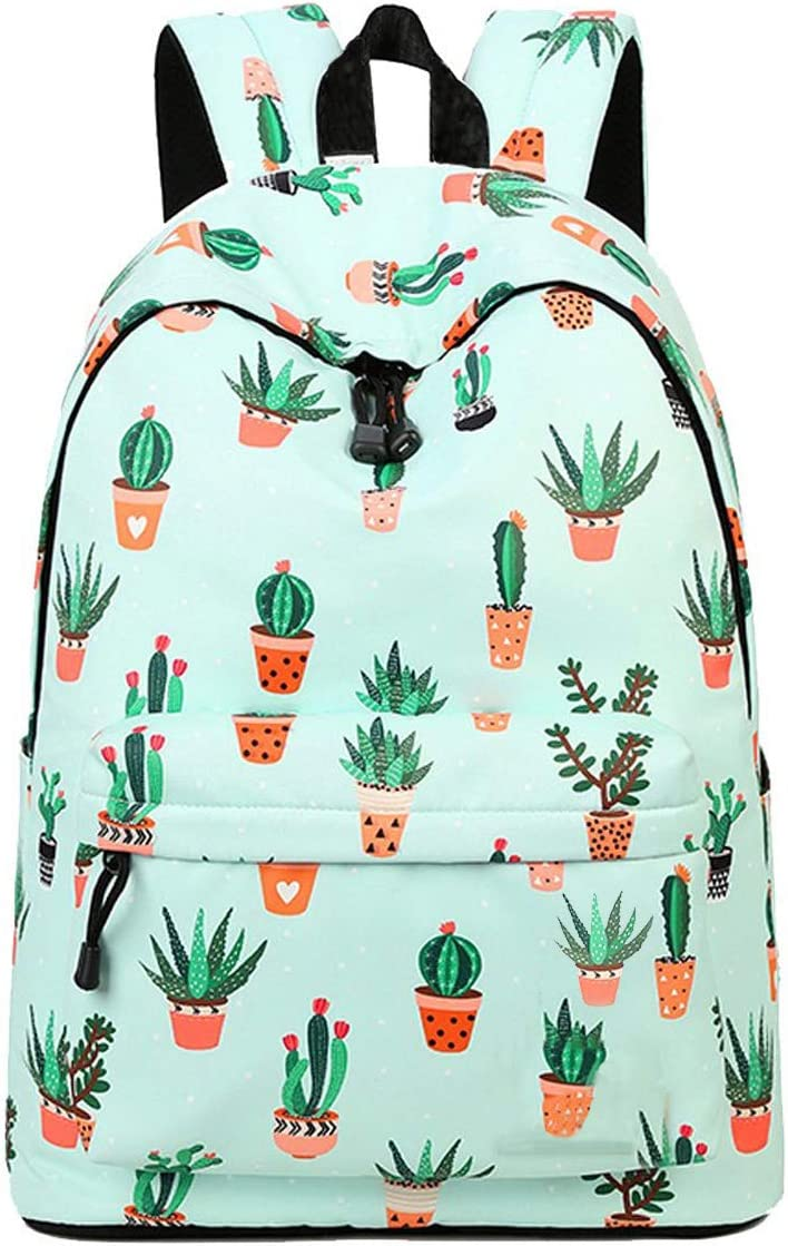 Cactus Backpack PU Leather School Shoulder Bag Rucksack for Women Girls Ladies Backpack Travel Bag