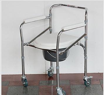 Aleación de aluminio noche orinal orinal de acero plegable Ancianos embarazadas Mujeres personas con discapacidad silla de baño silla de ruedas para inodoro ...