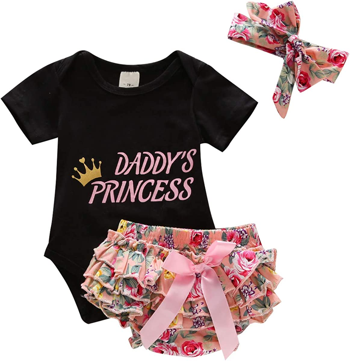Ruffle Floral Shorts Bow-Knot Bodysuit Headband Outfits Newborn Baby Girl Clothes Letters Print Romper
