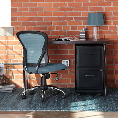Review Mobile File Cabinet With Wheels Rolling Storage Home Office Furniture 2 Drawers with Lock and Key Organizer Stainless Steel Black Bundle Includes Scented Wax Melts from Designer Home
