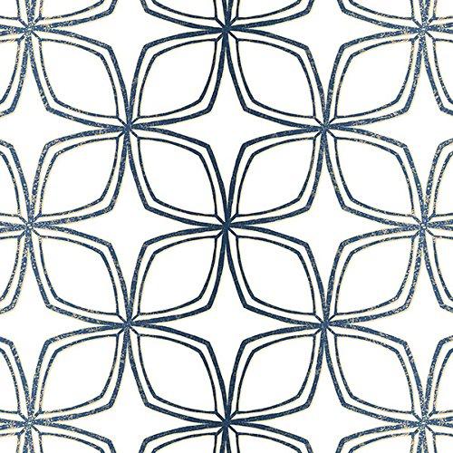 Manhattan comfort NWSH34551 Dudley Series Vinyl Geometric Flower Design Large Wallpaper Roll, 20.5