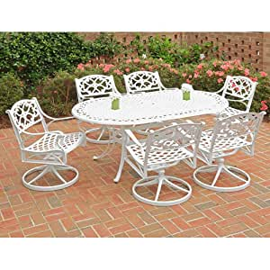 Home Styles 5552-335 Biscayne 7-Piece Outdoor Dining Set with Oval Shape Table and Swivel Chair, White Finish, 72-Inch
