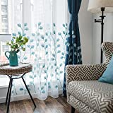 Melodieux Plant Embroidery Sheer Window Rod Pocket Top Voile Curtains for Bedroom 100 by 96 Inch White/Blue 1 Panel