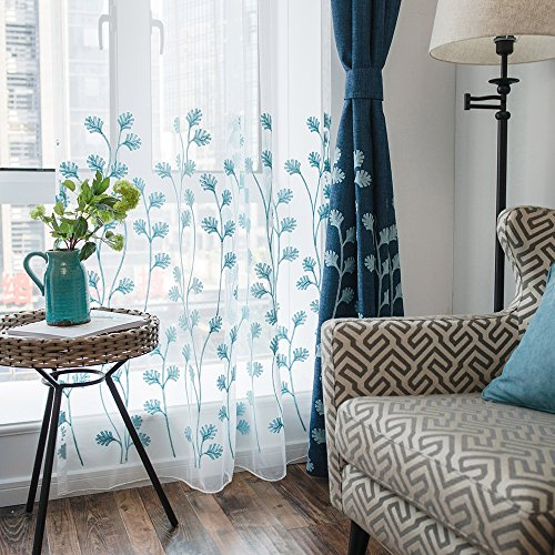 Melodieux Plant Embroidery Sheer Window Rod Pocket Top Voile Curtains for Living Room 100 by 84 Inch White/Blue 1 ()