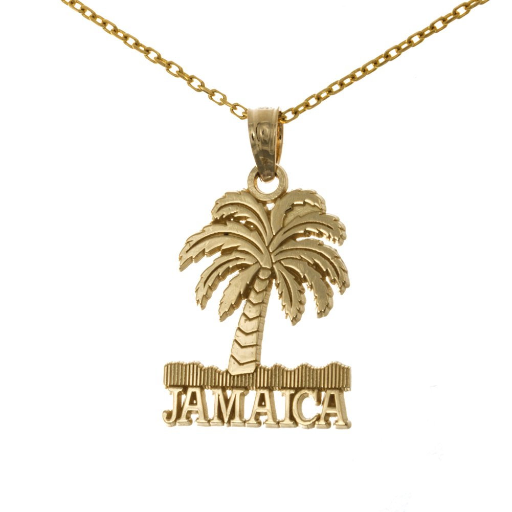 14k Yellow Gold Travel Necklace Charm Pendant with Chain, Jamaica Under Palm Tree