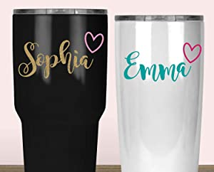 Name Decal for Tumblers, Cursive Sticker with Heart for Yeti, Your Choice of Size, Font and Colors