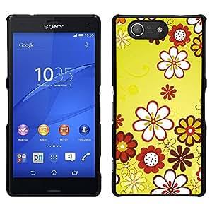 LECELL--Funda protectora / Cubierta / Piel For Sony Xperia Z3 Compact -- Diseño Floral Flores Amarillas --