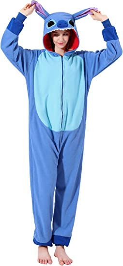 Stitch Costume Cute Animal Hoodie Halloween Cartoon Costume for Women Men and Teenagers