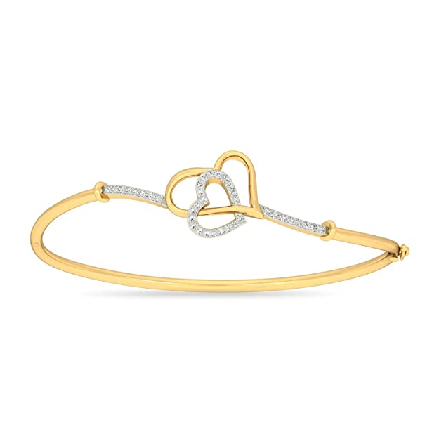 PC Jeweller The Cerian Heart 18KT Yellow Gold & Diamond Bracelet Women's Bracelets at amazon