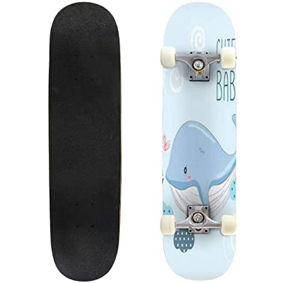 Classic Concave Skateboard Cute Baby Whale and Small Ship Longboard Maple Deck Extreme Sports and Outdoors Double Kick Trick for Beginners and Professionals : Sports & Outdoors