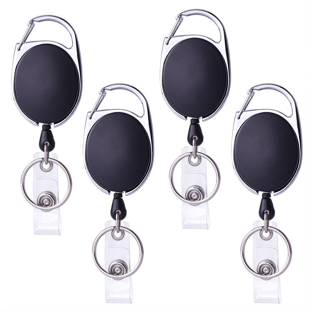 Kuuqa 4 Stück Ausweis JoJo Ausweishülle JoJo Ausweisjojo mit Schlüsselring für ID Badge Holder, Kartenhalter, Schlüsselkarten (Schwarz) Kuuqa-Reel Badge-03