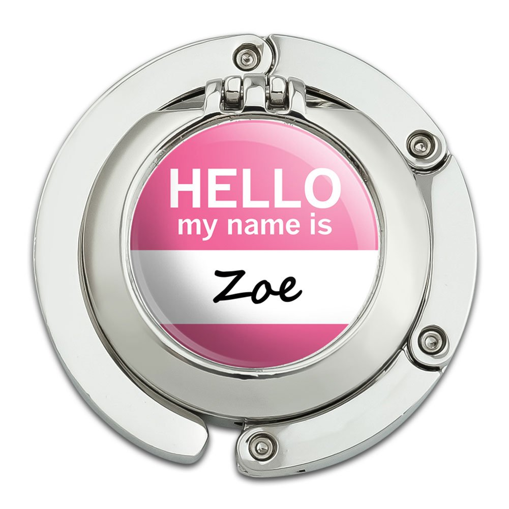 Zoe Hello My Name Is Foldable Table Bag Purse Caddy Handbag Hanger Holder Hook with Folding Compact Mirror