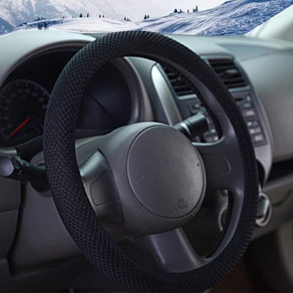 Blue and Gray Twill Breathable ZHOL Universal 15 inch Steering Wheel Cover Warm in Winter and Cool in Summer Linen Odorless Anti-Slip