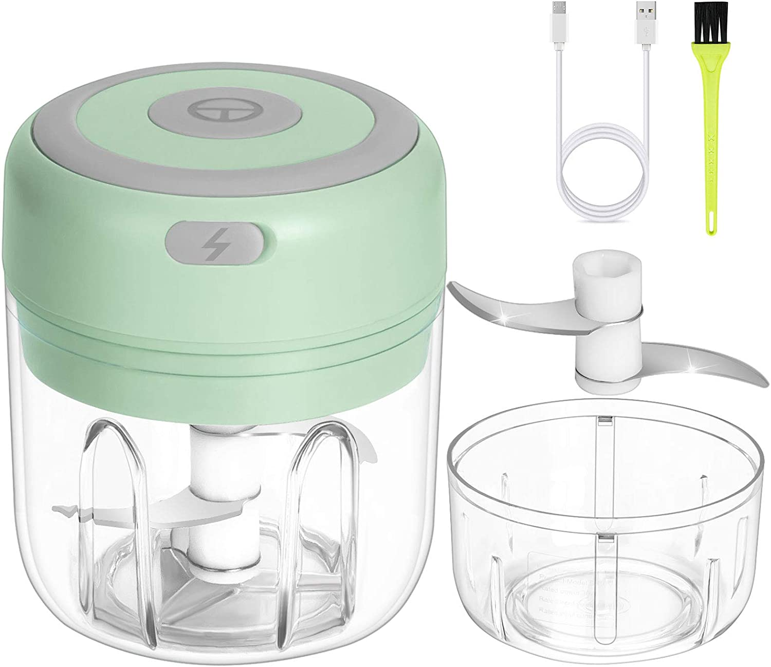 Garlic Chopper Electric, Mini Food Processor Set with 2 Cup (250ML & 100ML), Portable Garlic Slicer, Onion Masher, Ginger Chopper Blender for, Vegetables, Nuts, Pepper, Meat, Baby Food