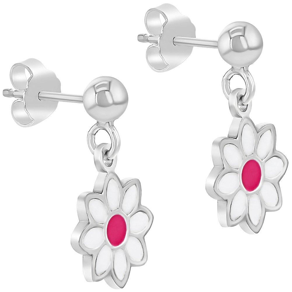 925 Sterling Silver Pink White Enamel Daisy Flower Stud Dangle Earrings Girls