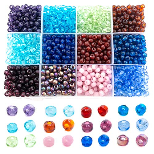 Over 2500 Glass Pony Beads for Jewelry Making Supplies for Adults - Handmade 5X7 mm Multicolor Pony Glass Beads DIY Jewelry Kit - 12 Colors Organizer - Premium Quality Spacer ()