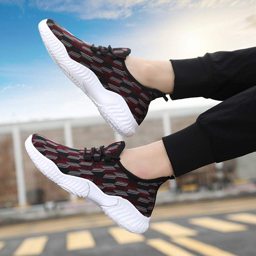 Street Shoes Men KKGG Sport Fashion Breathable Light Shoe Casual Comfortable Lace-Up Stretch Air Sneakers Outdoor Mesh Non-Slip Leisure Running Footwears for Athletic Walking Hiking Jogging