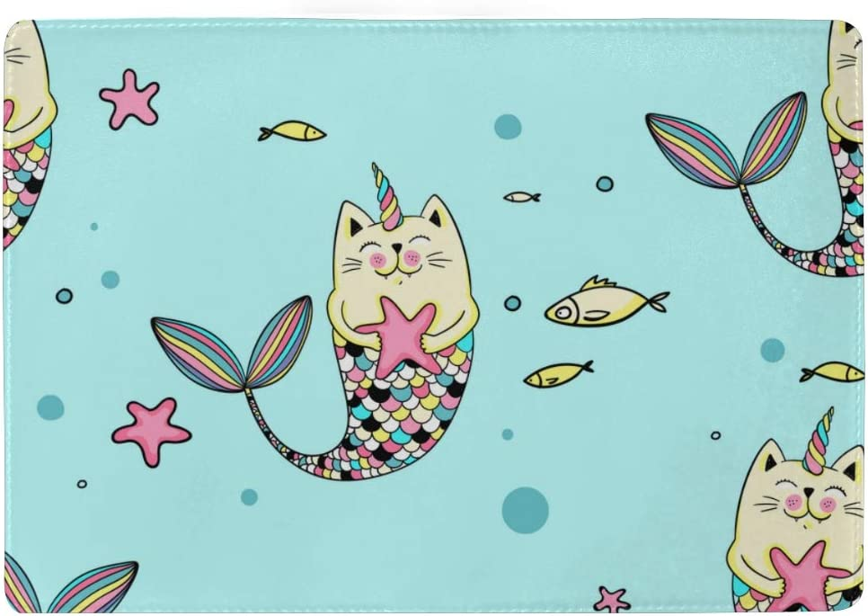 Lovely Kittens And Fish Blocking Print Passport Holder Cover Case Travel Luggage Passport Wallet Card Holder Made With Leather For Men Women Kids Family