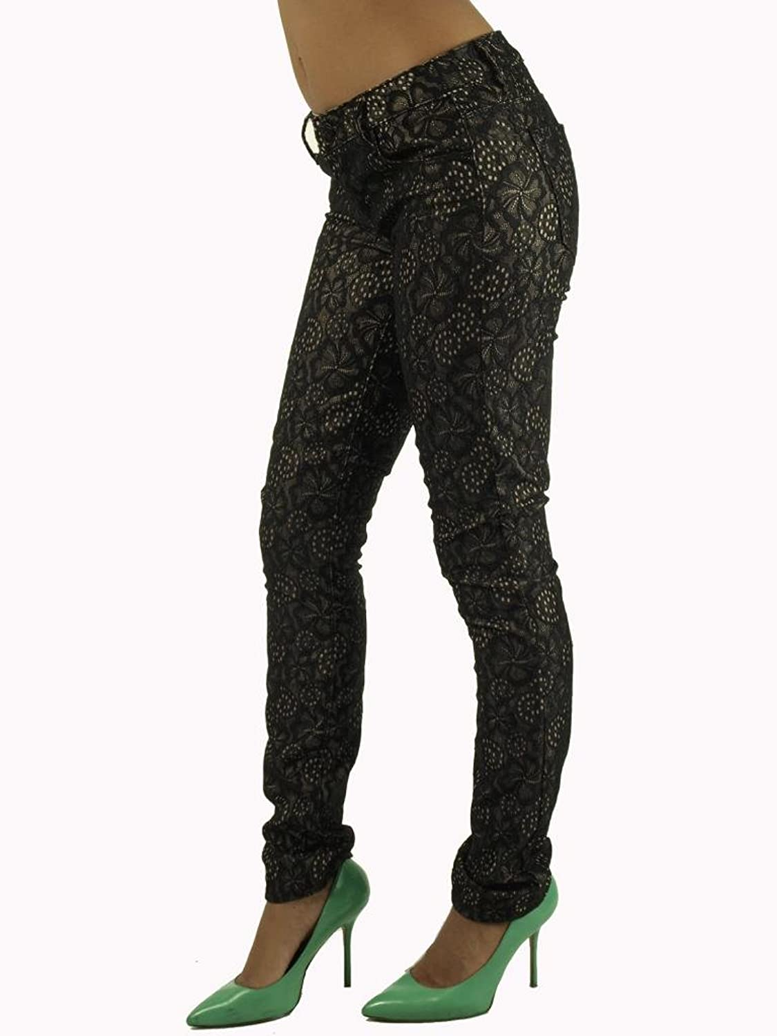 Women's Skinny Fit Floral Lace Pants by Vanilla Star