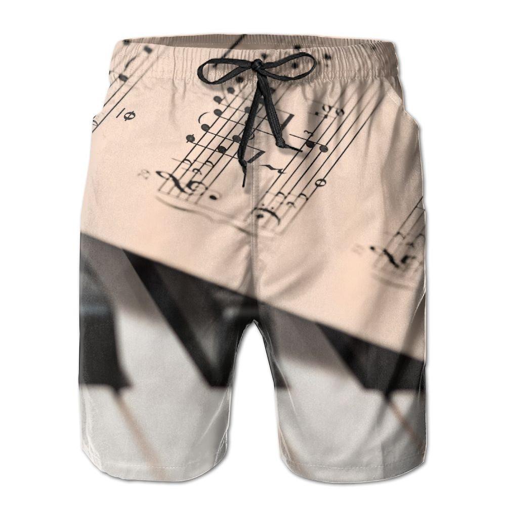 HFSST Piano Keys Pianoforte Musical Instruments Summer Swimming Trunks Beachwear Shorts