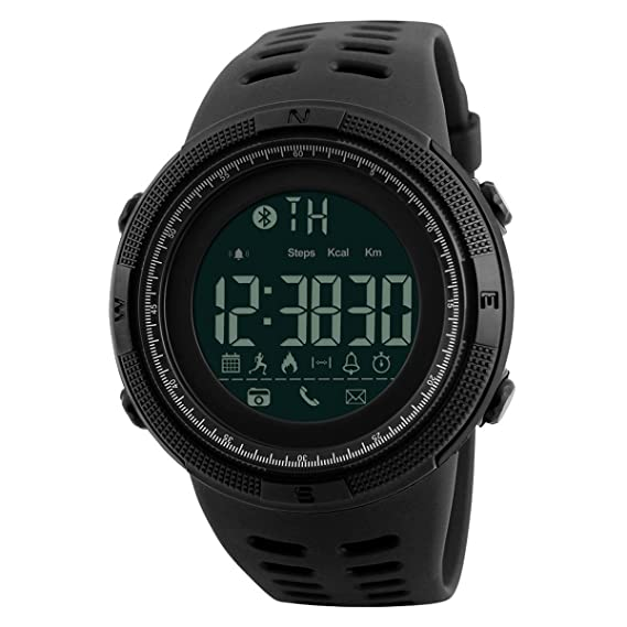 Fashion Mens Outdoor Bluetooth Pedometer Reminder Smart Watch Support iOS Andriod Camera Sports Wrist Watch (Black)