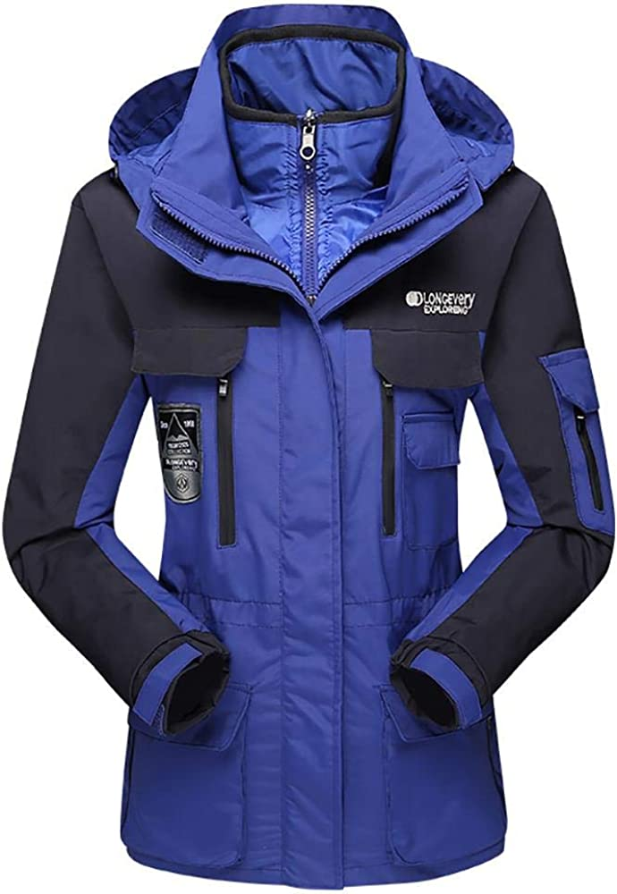 Women's Mountain Waterproof Ski Jacket Windproof Rain Jacket 3 in 1 Winter Coats for Rain Hiking Outdoor