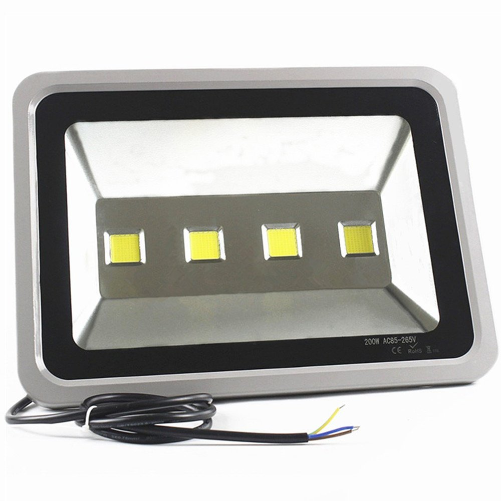 LED Flood Light 200W outdoor waterproof - AIYONG SUPER BRIGHT 6000K white floodlight AC85-265V all-weather 100% aluminum shell 50,000 hours life 20,000 lm 2 years warranty