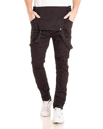 c8ddba513b14 BLZ Jeans - Salopette Jean Homme Noire WH100 Effet arraché  Amazon.fr   Vêtements et accessoires