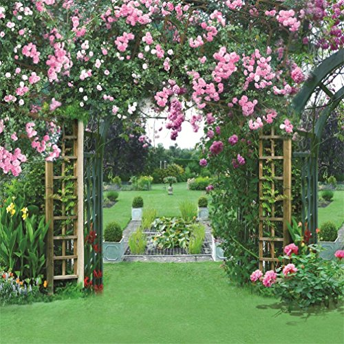 AOFOTO 10x10ft Wedding Garden Backdrop Romantic Flower Pergola Photography Background Spring Meadow Lovers Bride Girl Adult Woman Lady Portrait Photo Shoot Studio Props Video Seamless (Pergola Wall Supports)
