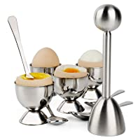 Egg Cracker Topper Set Soft Hard Boiled Eggs Separator Holder Include 4 Spoons and 4 Cups 1 Shells Remover Top Cutter Stainless Steel for Breakfast Kitchen Tool