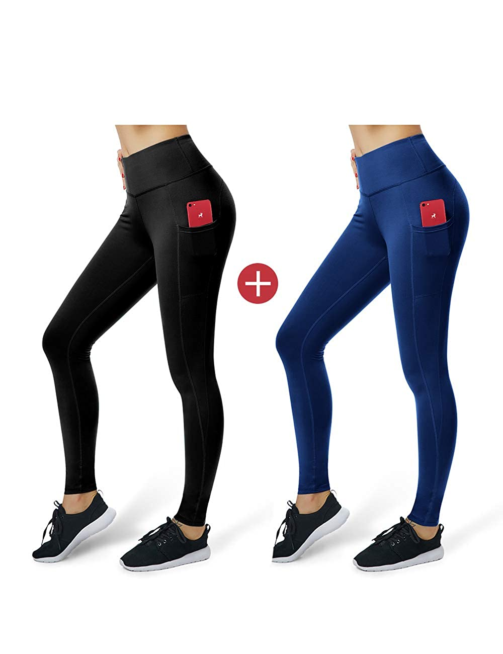 966069a96610b Amazon.com: ALONG FIT High Waist Yoga Pants with Pockets for Women Tummy  Control Yoga Leggings for Workout Running 4 Way Stretch: Clothing