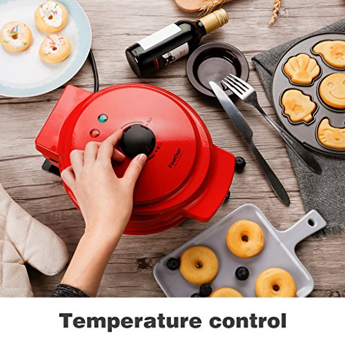 Finether Waffle Maker Machine, Multi-Plate Waffle Iron, Mini 3-in-1 Non-Stick Snack Maker Adjustable Temperature, Easy to Clean, Cord Wrap & Cool Touch Handle, Red by Finether (Image #4)